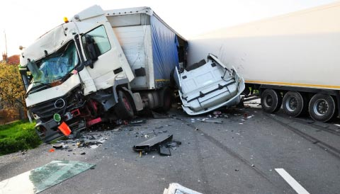 Truck accident on road